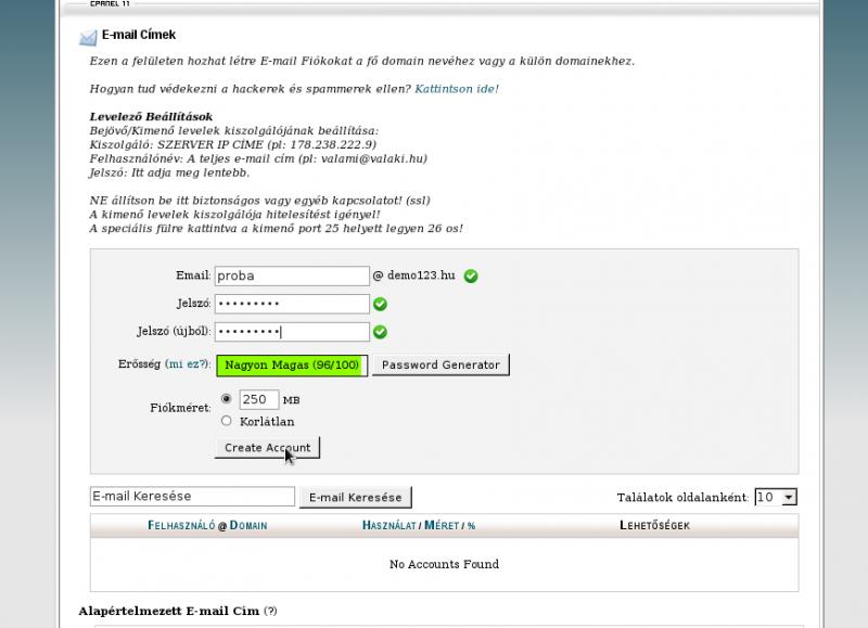 Email cím létrehozása második lépés